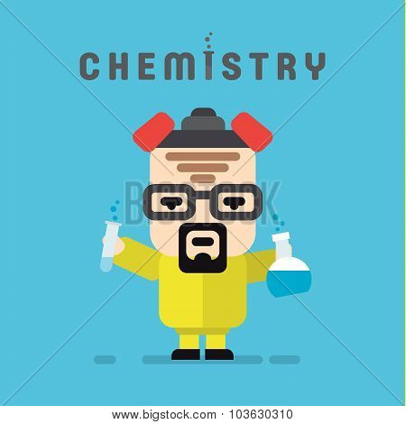 Chemist yellow suit with a respirator, chemistry, flask flat style logo vector illustrations