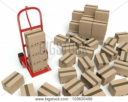 Warehouse Hand Truck And Many Cardboard Boxes