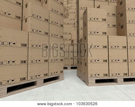 Cardboard Boxes On Wooden Paletts, Inside The Warehouse