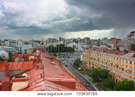 Clouds and rain over Moscow rooftops