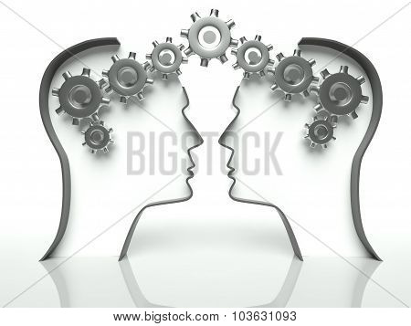 Brains Made Of Gears In Heads, Concept Of Thinking And Communication