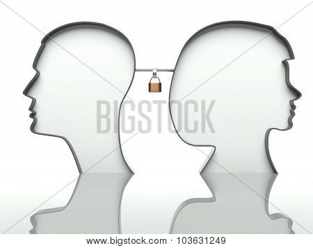 Man And Woman Faces Profiles With Padlock, Concept Of Affection