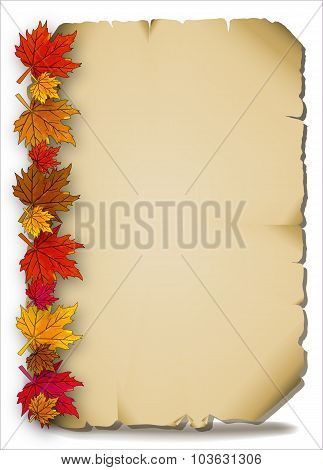 Autumn Leaves On An Old Parchment