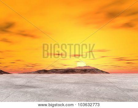 Wild uninhabited island covered in ice water