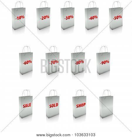 Shopping Bags Icon Set For Sale