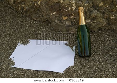 Blank Postcard And Champagne Bottle