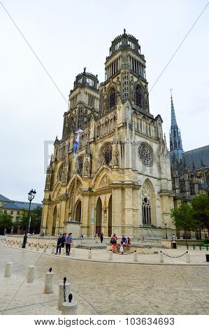 ORLEANS, FRANCE - AUGUST 11, 2015: Orleans Cathedral. It is a Gothic Catholic cathedral in the city of Orleans, France. It is the seat of the Bishop of Orleans