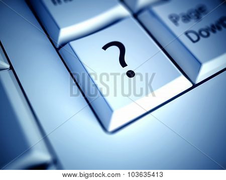 Keyboard And Question Mark Button, Computer Concept