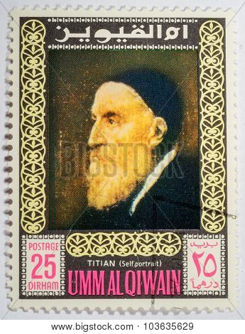 Moscow, Russia - October 3, 2015: A Stamp Printed In Umm Al Qiwain Shows A Self-portrait Of Titian,