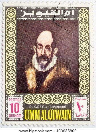 Umm Al Qiwain - Circa 1967: A Stamp Printed In Umm Al Qiwain Shows A Self-portrait Of El Greco, Circ