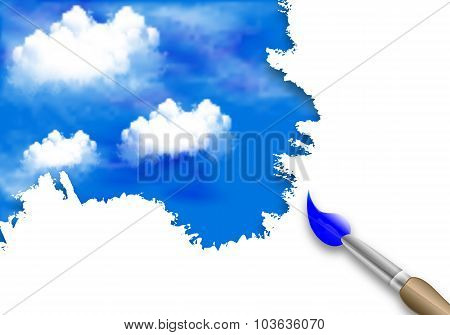 Brush Painting Of Clouds In The Sky