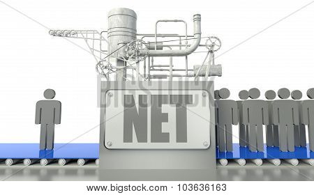 Internet Concept With Man And Group Of People