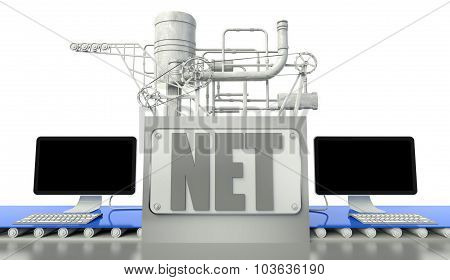 Internet Concept With Computers And Machine