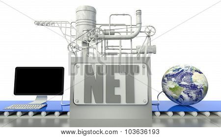 Internet Concept, Computer And Earth Globe