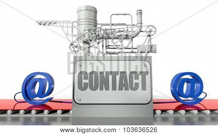 Connect Concept With E-mail Signs And Machine