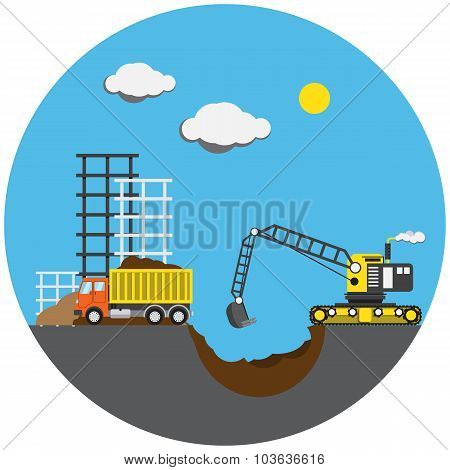 Construction project, vector illustration