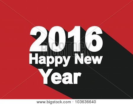 2016 Happy New Year Flat Style Simple Red