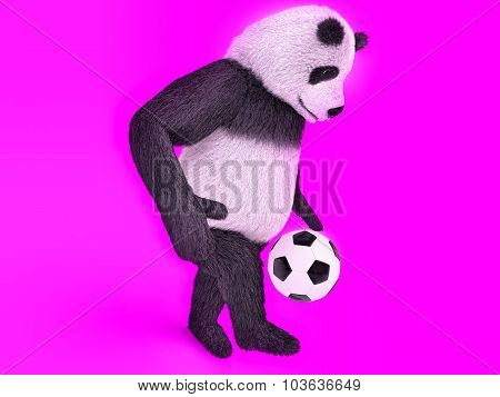 Touching Cute Panda Soccer Player. Chasing A Soccer Ball On Foot On Purple Background. Juggling Ball