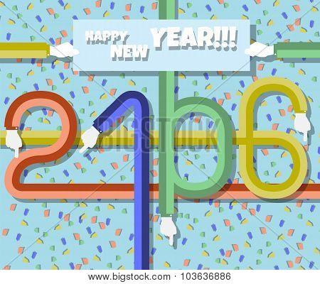 2016 Happy New Year Flat