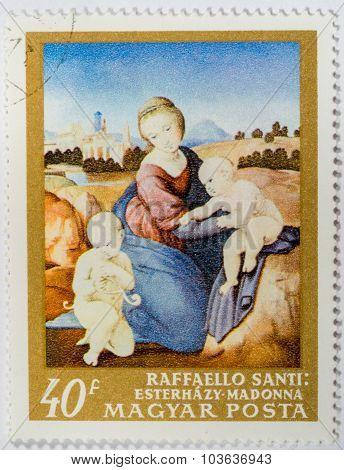 Moscow, Russia - October 3, 2015: A Stamp Printed In Hungary Shows Raffaello Santi: Esterhazy Madonn