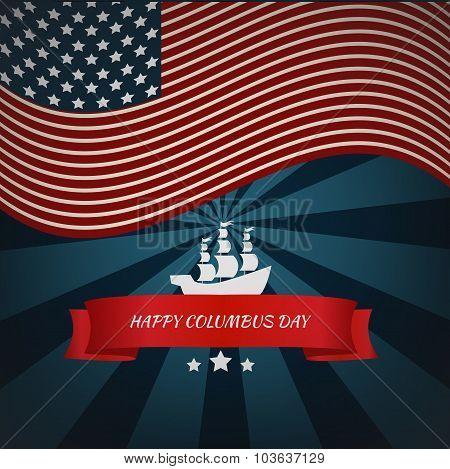 Happy Columbus Day Card Vector Eps 10