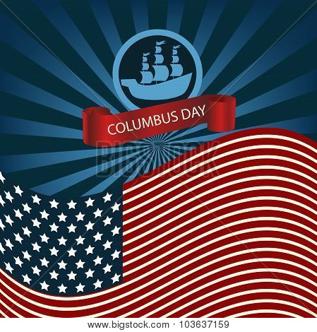 Happy Columbus Day Ship Holiday Poster United States America Flag Vector Illustration Eps 10