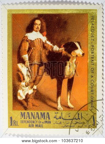 Manama - Circa 1968: A Stamp Printed In Hungary Shows Court Dwarf With Dog By Velazquez, Circa 1968