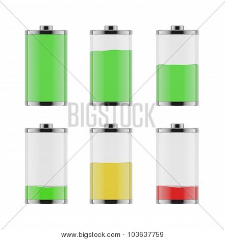 An Illustration Of The Six Batteries With Different Level Of Charge From Low To Full. On White Backg