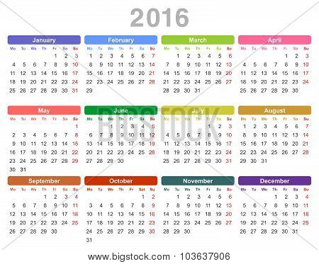 2016 year annual calendar (Monday first, English)