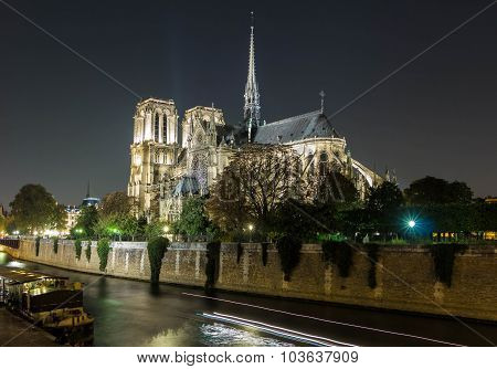 The Cathedral Notre Dame At Night , Paris, France.