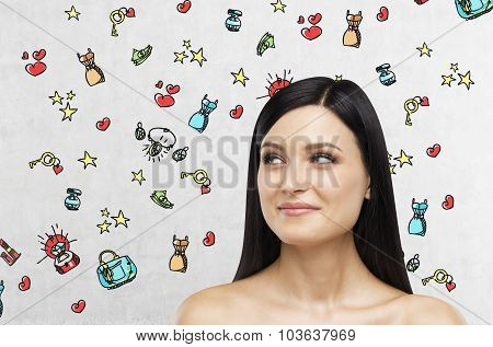 A Portrait Of A Smiling Brunette Lady Who Is Looking At Something On The Right Side. Colourful Shopp