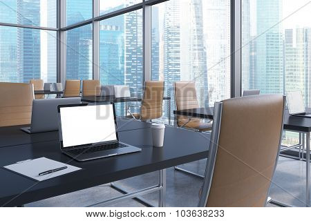 Workplaces In A Modern Corner Panoramic Office With Panoramic View Of Singapore. Black Tables And Br
