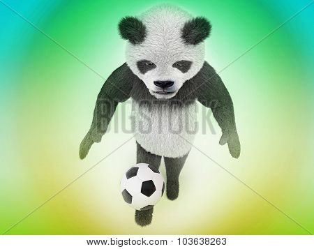 Wonderful Animal Soccer Player Chasing A Ball On The Green And Yellow Gradient Background Top View.