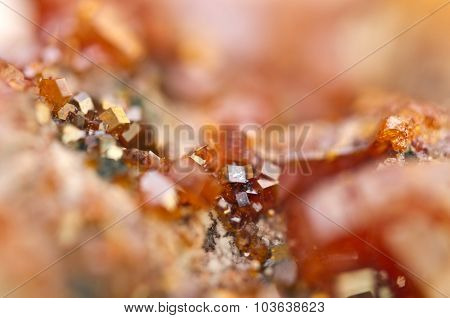 Crystals Vanadinite. Macro. Extreme Closeup