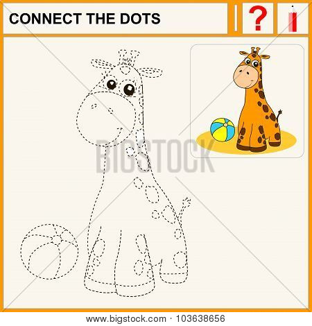 Connect the dots preschool exercise task for kids cheerful giraffe