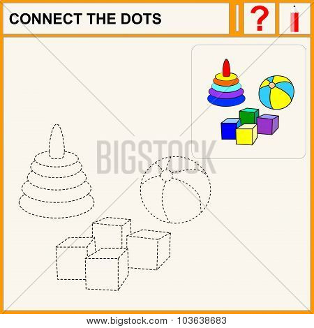 Connect the dots preschool exercise task for kids toys