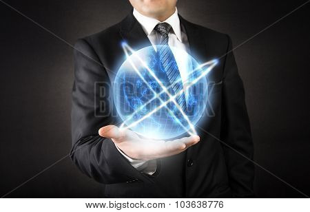 World connection on businessman hand