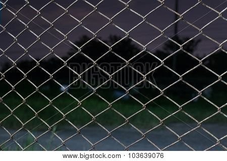 Metal fence to night