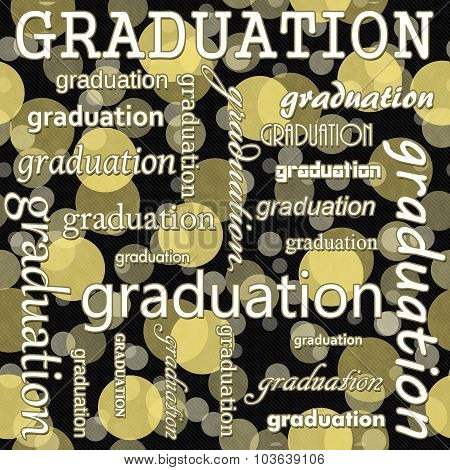 Graduation Design With Yellow And Black Polka Dot Tile Pattern Repeat Background