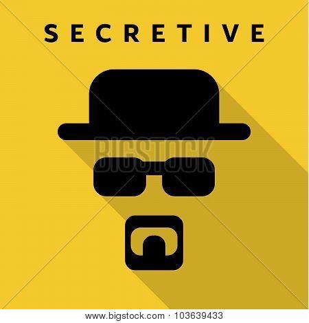 Secretive Mask Hero superhero flat style icon vector logo, illustration, villain