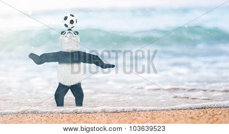 Miniature Circus Bamboo Panda Teddy Bear Stands On Beach Gulf Of Siam To His Ankles In Water. And Ch