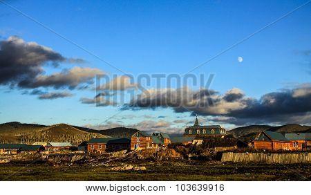 Village of Inner Mongolia at dusk