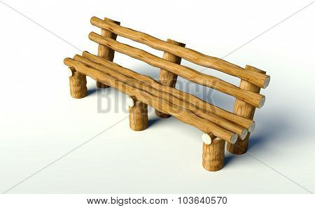 Wooden Bench Made Of Tree Trunks