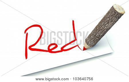 Red Concept, Ecology Wooden Pencil Tree Trunk