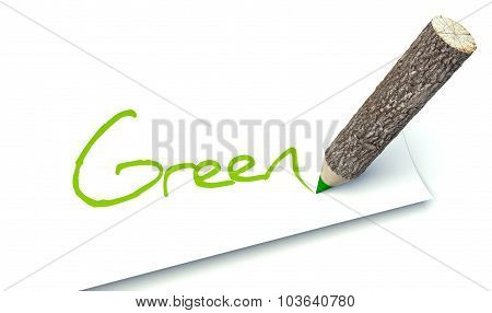 Green Concept, Ecology Wooden Pencil Tree Trunk