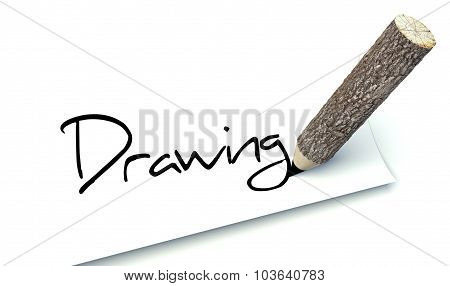 Drawing Concept, Ecology Wooden Pencil Tree Trunk