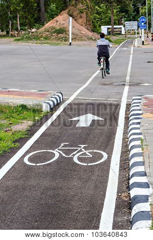 Bicycle Lane Sign On The Road Focus On Symbol