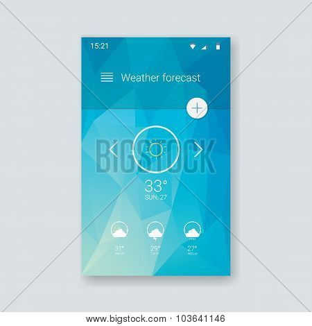 Weather forecast ui for smartphone app. Mobile user interface template with line icons on low poly b