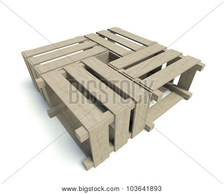 Wooden Boxes Forming Table, Isolated On White