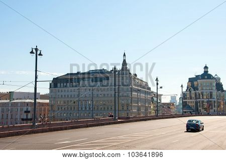 Moscow, Russia - 09.21.2015. Hotel Baltschug Kempinski and Moscow Main Territorial Department of Cen